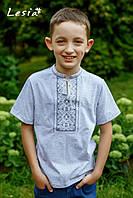 Вишиванка для хлопчика Карпатська сіра на сірому