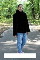 """Курточка из ондатры """" Оливия"""" , воротник стойка песец, длина 65 см"""