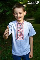 Вишиванка для хлопчика Карпатська яскраво-червона на сірому 92