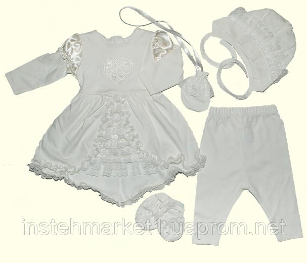 Крестильные наборы для девочек ТМ Ля-Ля, интерлок (артикул 15ТК015)