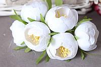 Цветы пиона диаметр около 4 см, 30 шт/уп., белого цвета на ножке оптом