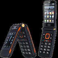 """Land Rover X8 Flip. Батарея 16800 мАч, 2 SIM, сенсорный дисплей 3.5"""". Противоударный телефон-раскладушка!"""