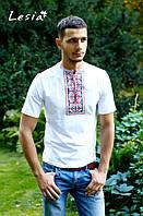 Чоловіча вишиванка Карпатська яскраво-червона на білому