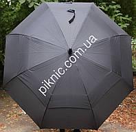 Большой семейный, мужской зонт трость с клапаном. Полуавтомат. Антиветер. Диаметр купола 130 см.