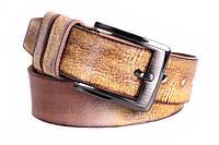 Оригинальный мужской ремень из винтажной кожи песочный