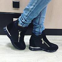 Женские сникерсы ботинки замша