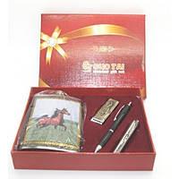 Сувенирный набор  4 предмета - фляга с ложкой+зажигалка +ручка +нож.