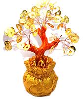 Дерево счастья с золотыми монетами в мешке