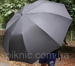 Компактный семейный, мужской зонт автомат: 2 сложения. Антиветер. Диаметр купола 125 см. Польша, фото 3