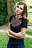 Жіноча вишиванка Перлина золото з червоним на чорному