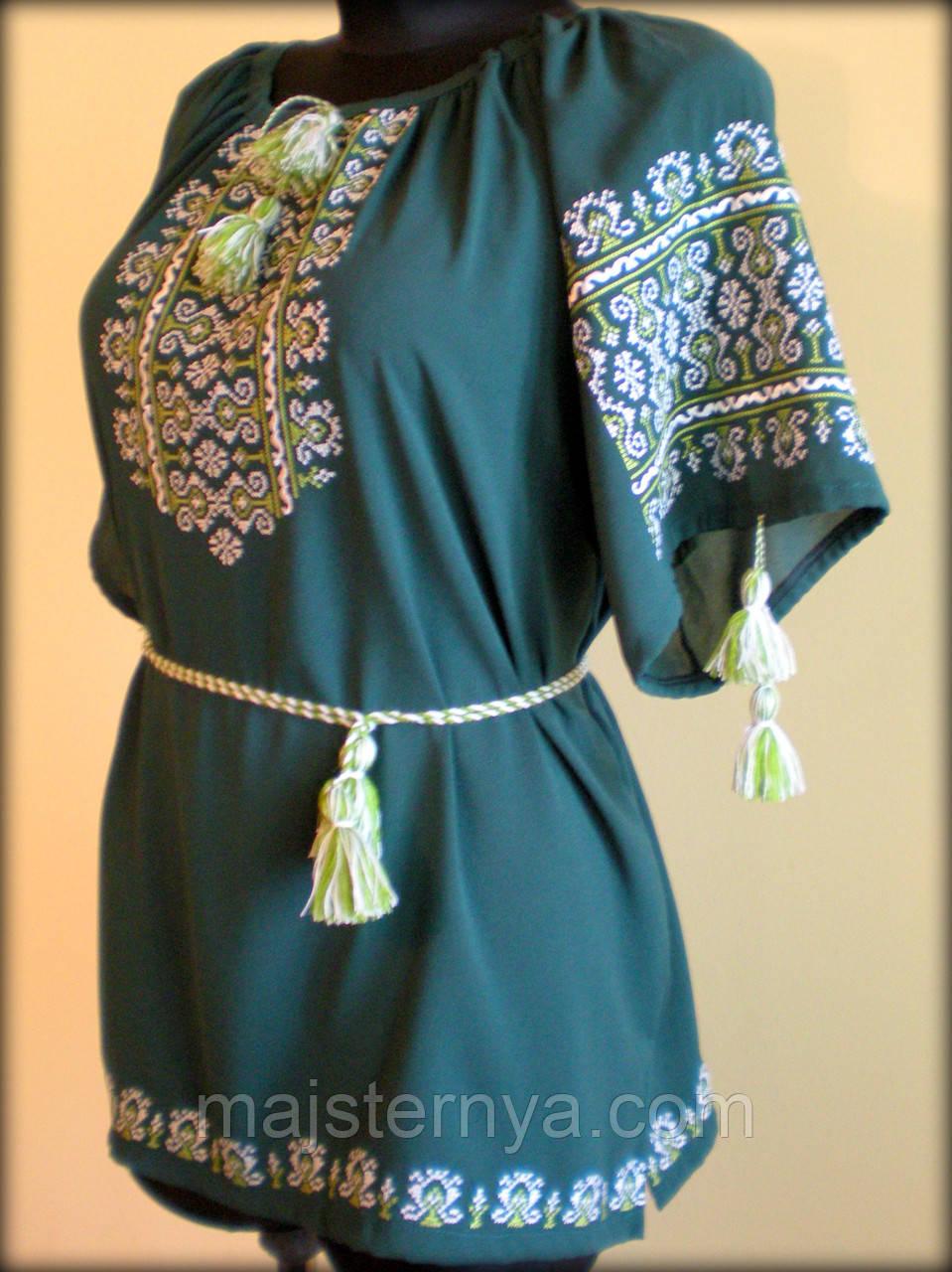"""Вишиванка жіноча  """"Ілюзія"""" на зеленому шифоні, блуза вишита білими та зеленими нитками, машинна вишивка"""