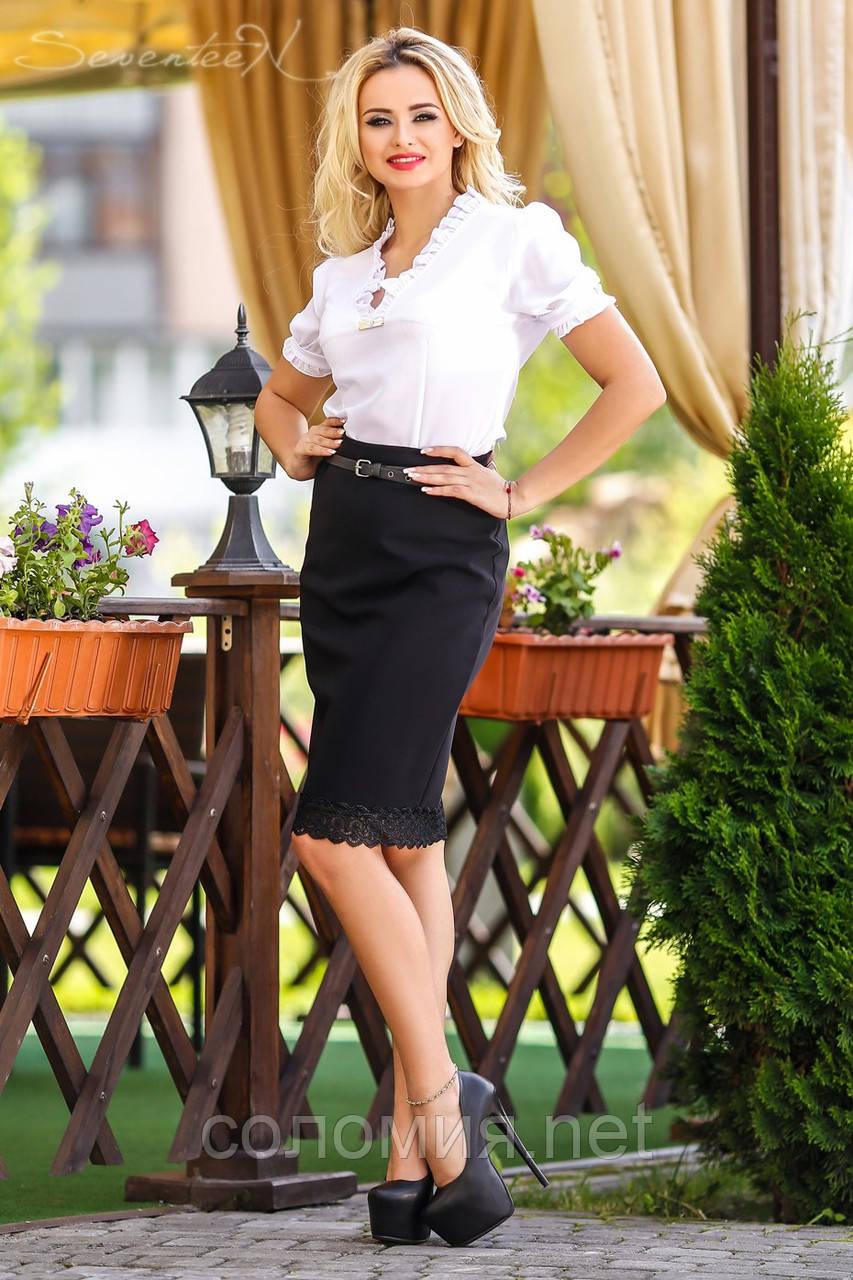 Универсальная юбка-карандаш с кружевом по низу юбки черного цвета