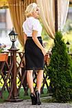 Универсальная юбка-карандаш с кружевом по низу юбки черного цвета, фото 3