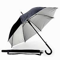 Зонт-трость полуавтомат металлик двухцветный, ручка дерево, серебристо-черный, от 10 шт.
