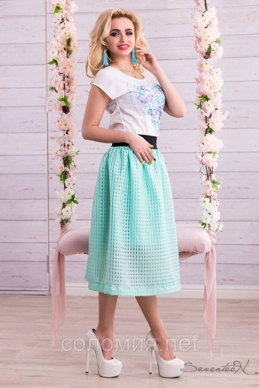 Воздушная юбка сеточка с подкладом бирюзового цвета