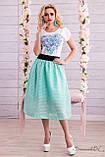 Воздушная юбка сеточка с подкладом бирюзового цвета, фото 2