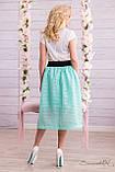 Воздушная юбка сеточка с подкладом бирюзового цвета, фото 3