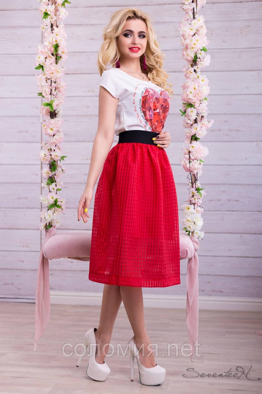 Воздушная юбка сеточка с подкладом красного цвета