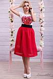 Воздушная юбка сеточка с подкладом красного цвета, фото 2