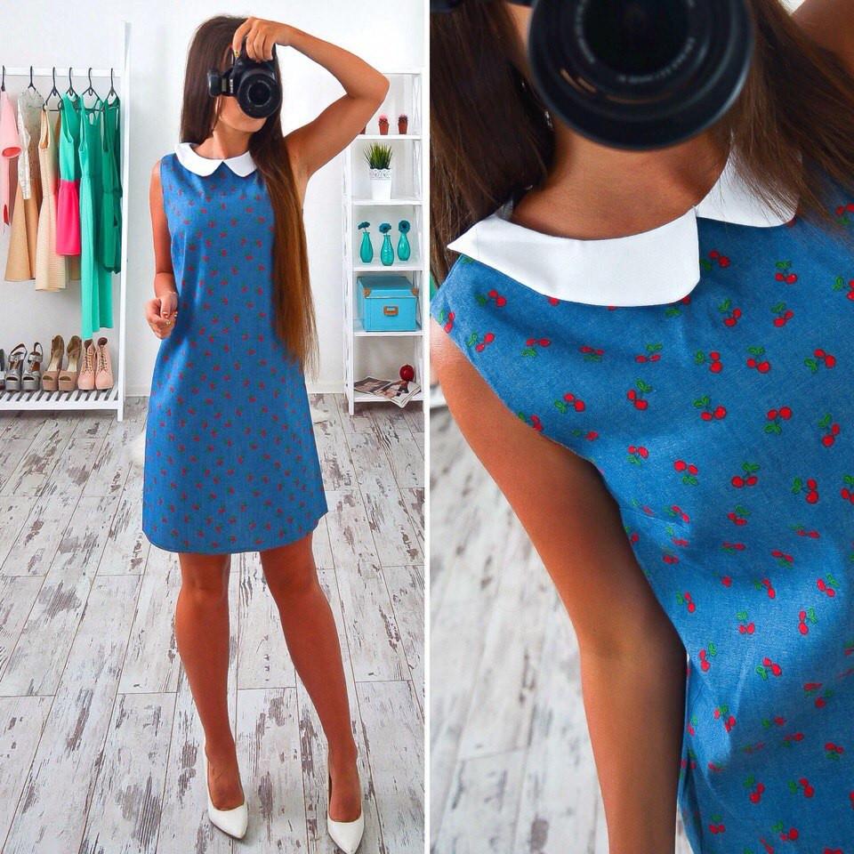 Платье женское Платье джинсовое с вишеньками  - BEREZKA SHOP в Киеве