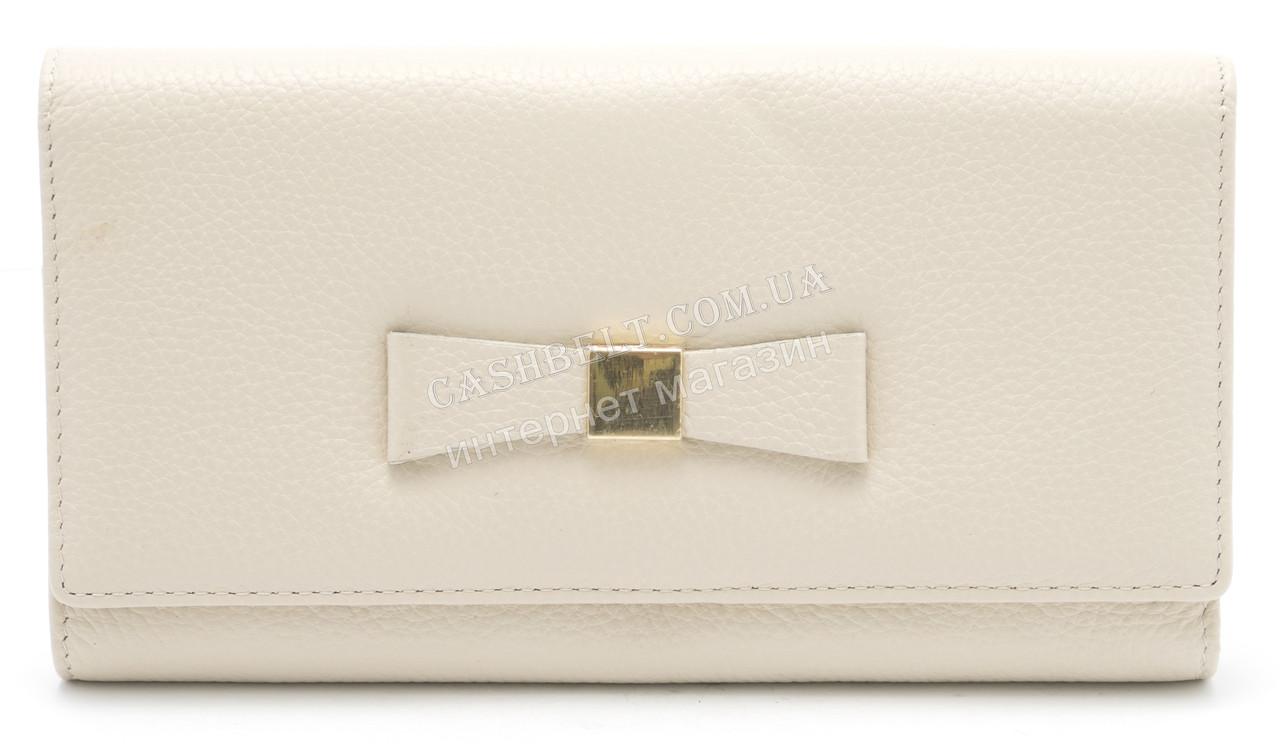 Стильный кожаный женский кошелек с бантом бежевого цвета SALFEITE art. 12235