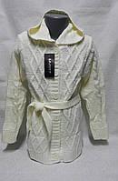 Белая вязанная кофта для девочек Удлиненная