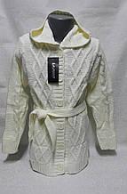 Белая удлиненная кофта для девочек 98,104,110,116 роста Капюшон