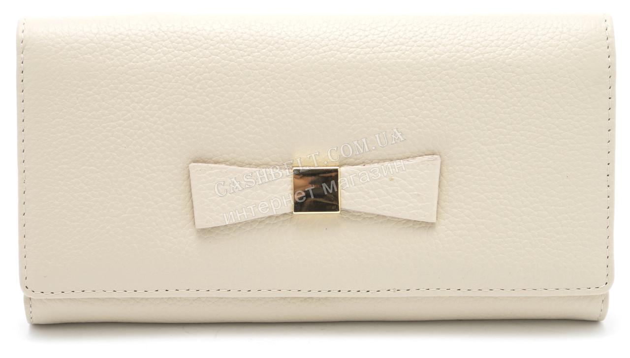 Стильный кожаный женский кошелек с бантом бежевого цвета SALFEITE art. 12234