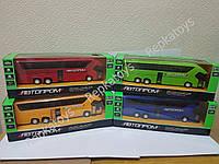 Автобус металлический, музыкальный, со светом, двери открываются (ОПТОМ) 7779