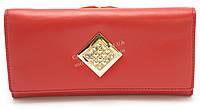 Стильный кожаный женский кошелек красного цвета со стразами SALFEITE art. 8029N