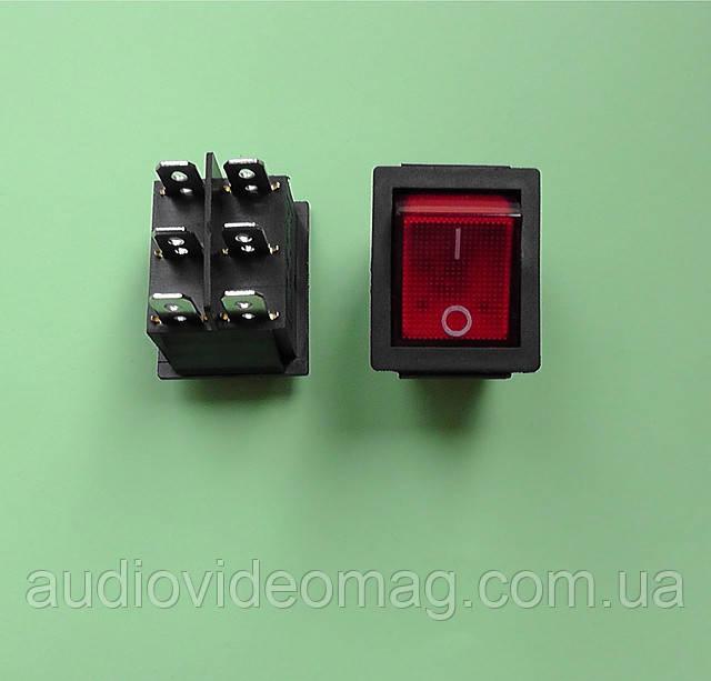 Кнопочный выключатель 28.5 х 22 мм, 250V 15A, с подсветкой