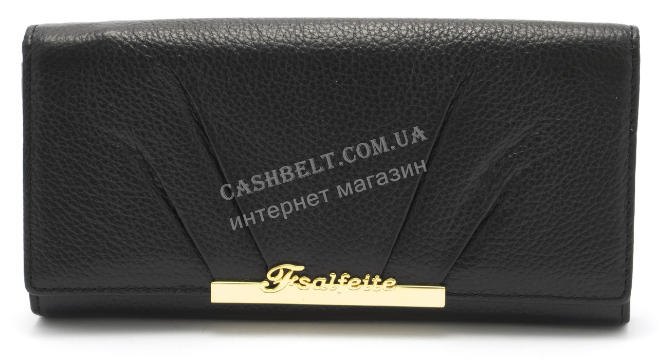 Модный матовый кожаный женский кошелек черного  цвета SALFEITE art. 12177