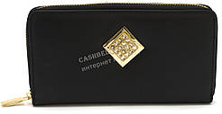 Стильный кожаный женский кошелек барсетка со стразами SALFEITE art. 8548N черный