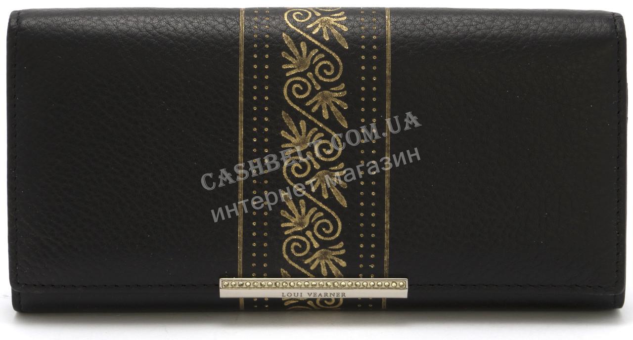 Элегантный кожаный женский кошелек с позолотой черного цвета LOUI VERNER art. 48-305