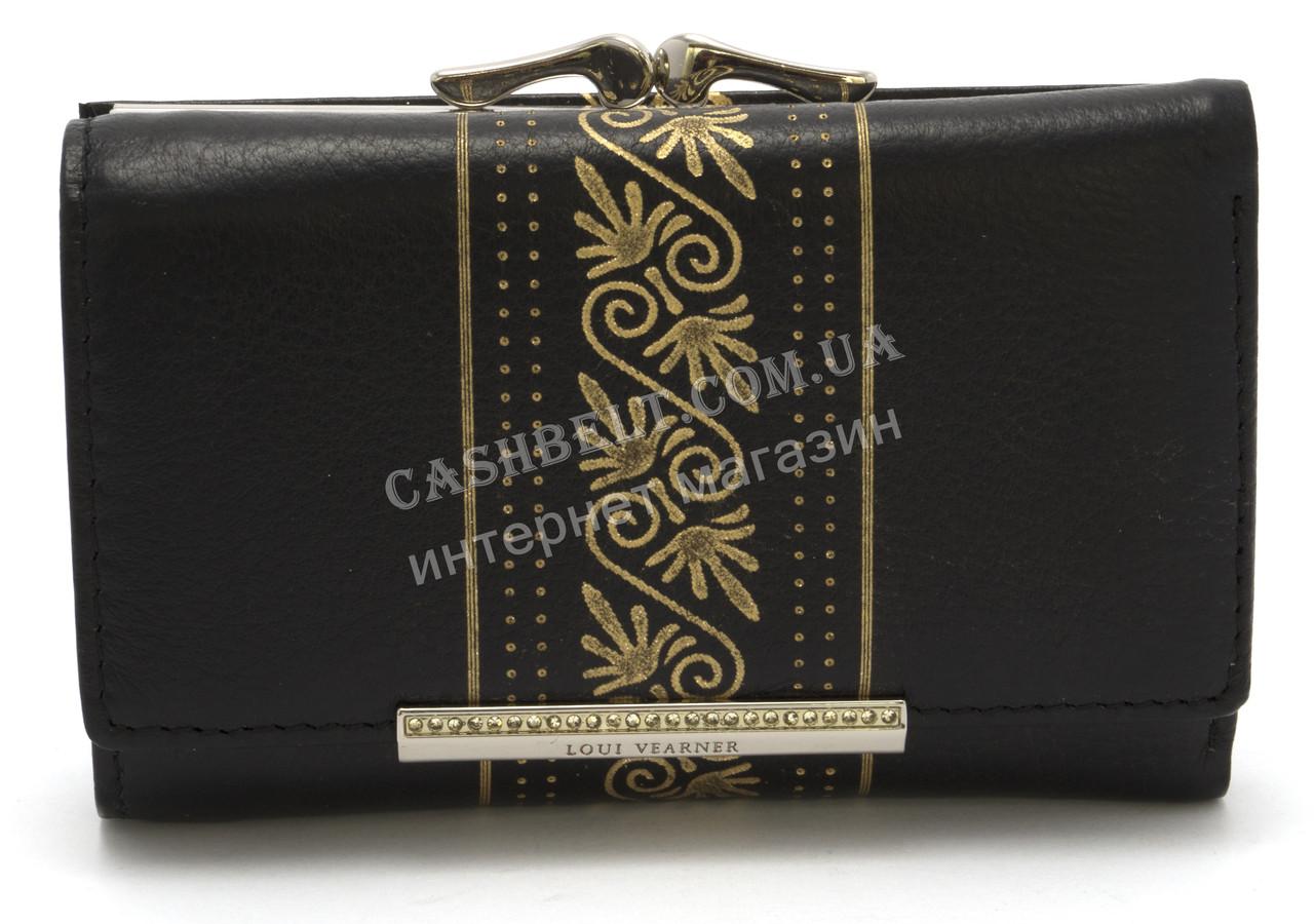 Элегантный кожаный женский кошелек с позолотой черного цвета LOUI VERNER art. 48-2063