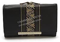 Элегантный кожаный женский кошелек с позолотой черного цвета LOUI VERNER art. 48-2063, фото 1