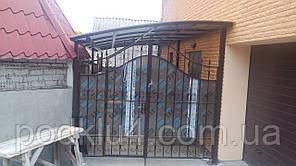 Ворота распашные с ковкой обшитые поликарбонатом, фото 2