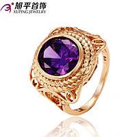 Кольцо 12487 размер 21, фиолетовые камни, позолота 18К