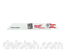Пилочки для сабельной пилы Milwaukee 150х1,8мм,по.металу 3-10мм,Bi-Metal