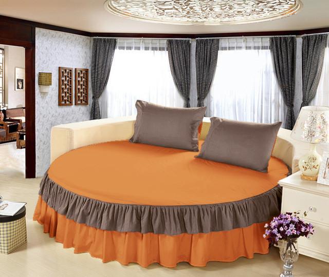 Простынь цельная - подзор на Круглую кровать Модель 6 Медовый + Порох