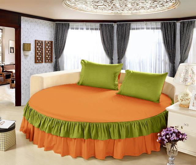 На Круглую кровать Простынь цельная - подзор  Модель 6 Медовый + Салатовый