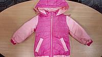 Куртка плащевка на флисе для девочки, демисезонная, розовая