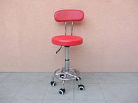 Стул для мастера маникюра и педикюра со спинкой (красный)