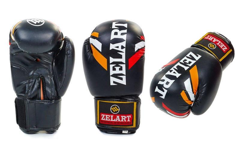 Перчатки боксерские FLEX на липучке  ZB-4276-BK