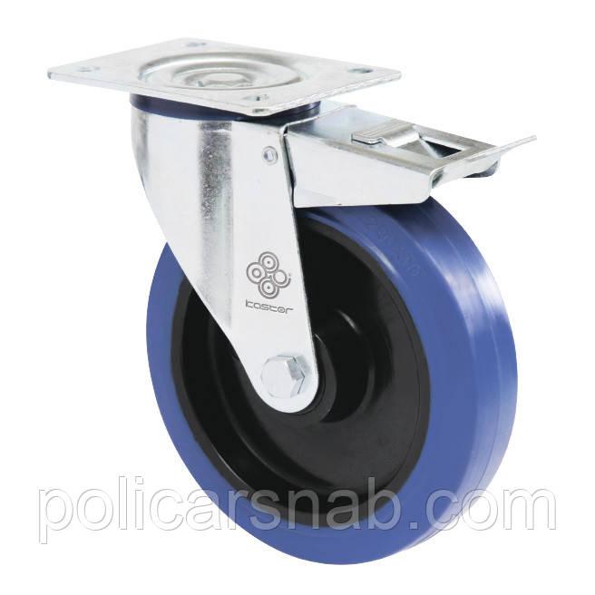 Колеса поворотные с эласт.синей резиной Norma с крепеж.панелью,тормоз,ролик.подш. Ø80,100,125,150,160,200мм