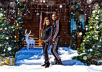 Спортивный костюм женский теплый Adidas с высоким воротником