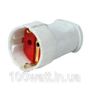 Гнездо розетка штепсельная 16А с заземлением белая GAV 112