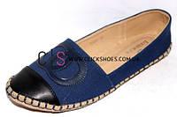 Эспадрильи женские шанель синие