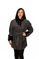 Кожаная куртка женская (замша в накате) в батальных размерах, фото 1