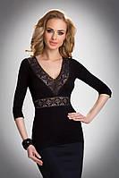 Женская нарядная блуза черного цвета с красивым вырезом декольте. Модель Emila Eldar, осень-зима 2016-2017.